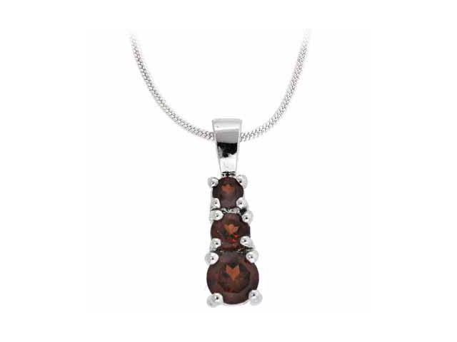 Sterling Silver Past Present and Future Genuine Garnet Pendant