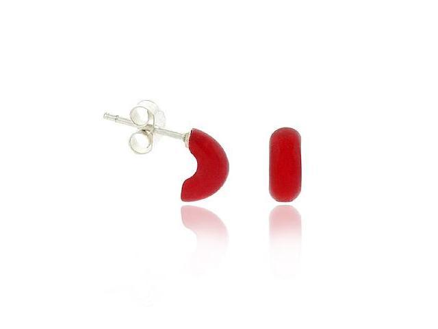 Retro Sterling Silver .925 Red Half Hoop Mini Small Kid Stud Earrings