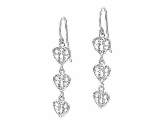 Sterling Silver 3 Filigree Drop Dangle Valentine's Day Love Heart Earrings
