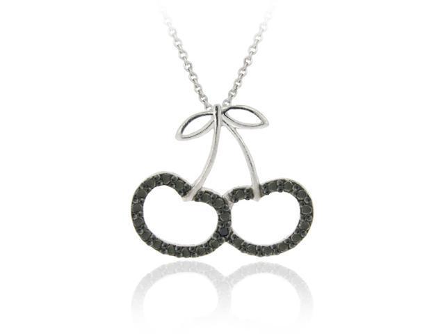 Sterling Silver Black Diamond Accent Cherries Slide Pendant