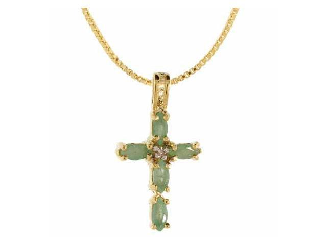 18K Gold over Sterling Silver Genuine Emerald and Diamond Accent Cross Pendant