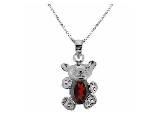 Sterling Silver Genuine Garnet Stone Teddy Bear Pendant