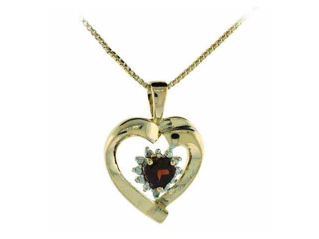 Vermeil (24k Gold over Sterling Silver) Genuine Diamond and Garnet Heart Pendant