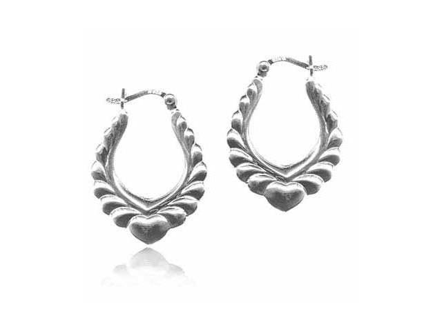 Sterling Silver Scroll Design Heart Hoop Earrings