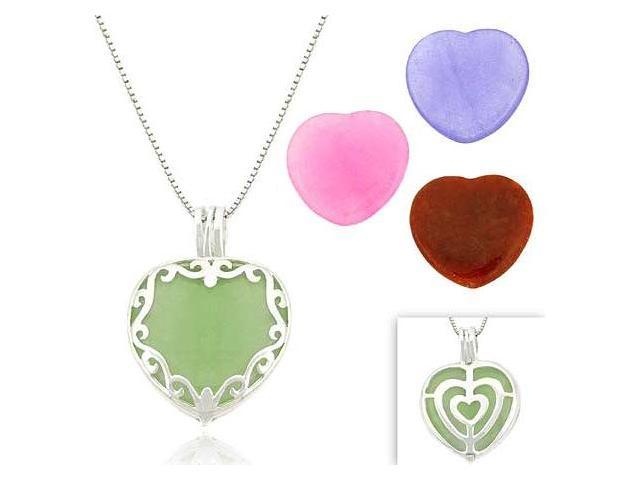 Sterling Silver Heart Multi Color Interchangable Pendant