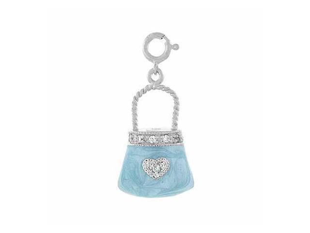 Sterling Silver 3-D Light Blue Enamel Simulated Diamond cz Heart Hand Bag Purse