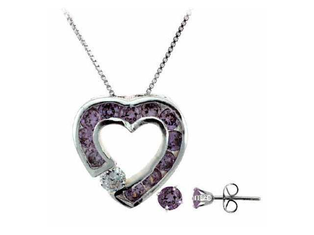 Sterling Silver Simulated Amethyst cz Heart Pendant and Stud Earrings Set