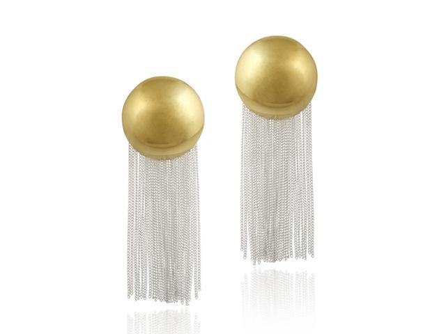 18K Gold over Sterling Silver Two Tone Button and Dangling Chains Earrings
