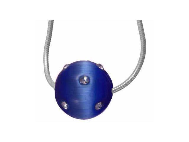 Simulated Diamond CZ Confetti Light Blue Cats Eye Ball Pendant