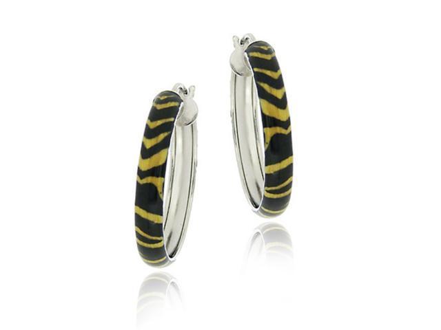 Sterling Silver Enamel Tiger Pattern 25mm Hoop Earrings