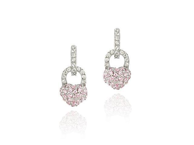 Simulated Diamond CZ and Pink CZ Heart Padlock Charm Earrings