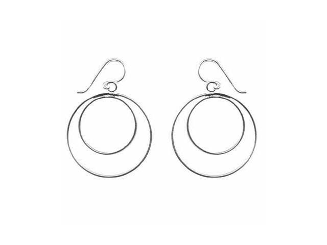 Sterling Silver Circle within a Circle Hook Earrings
