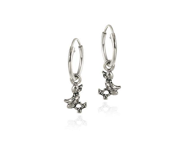 Sterling Silver Dangling Duck Small Hoop Earrings