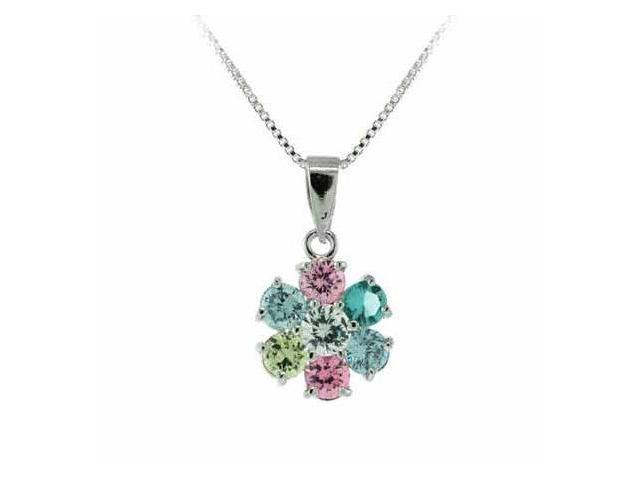 Sterling Silver Pink, Lavender, and Light Yellow cz, Simulated Aquamarine cz, an