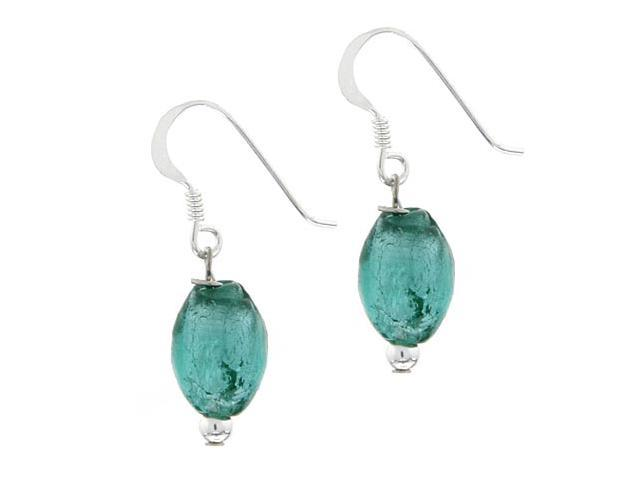 Sterling Silver .925 Aqua Blue Glass Glitter Foil Bead Oval Dangle Hook Earrings