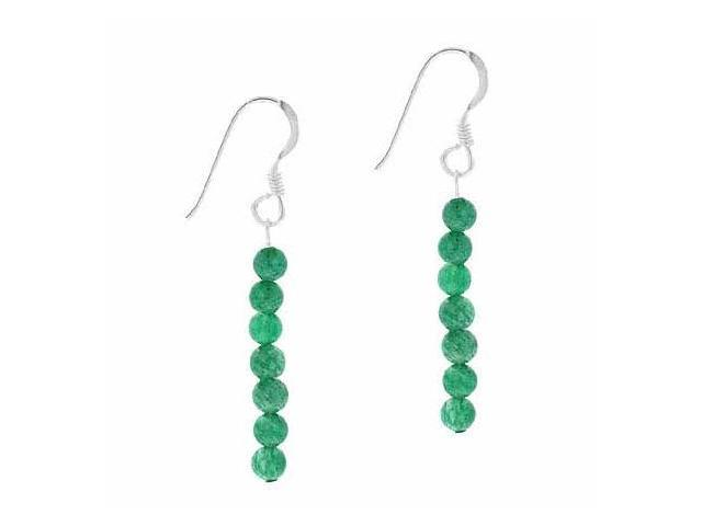 Sterling Silver  4mm Genuine Aventurine Stone 6 Bead Beaded Dangle Hook Earrings