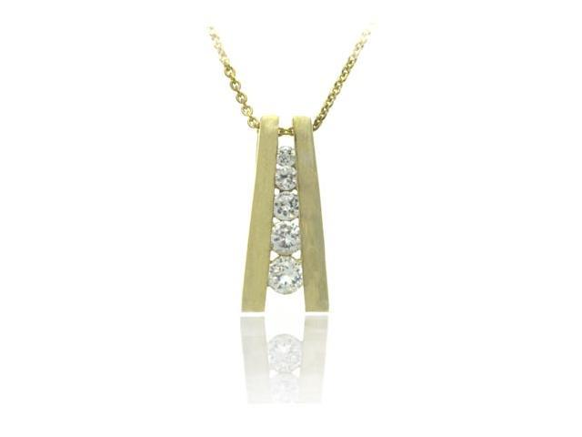 18K Gold/ Sterling Silver 5-Stone CZ Journey Pendant