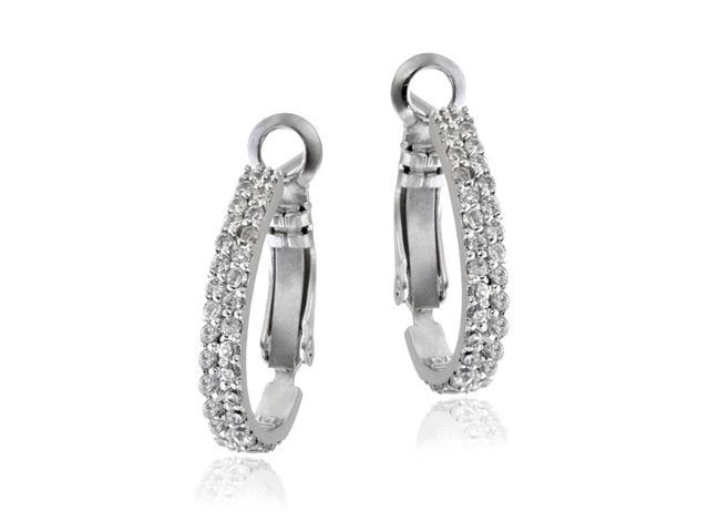 Sterling Silver Two Row CZ Half Hoop Earrings