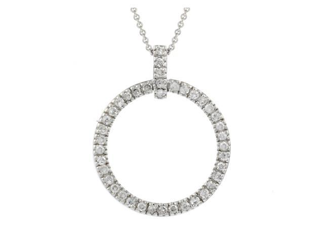 Sterling Silver CZ Open Circle Eternity Pendant