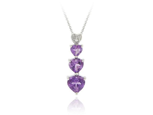 Sterling Silver Amethyst & Diamond Accent Heart Journey Pendant