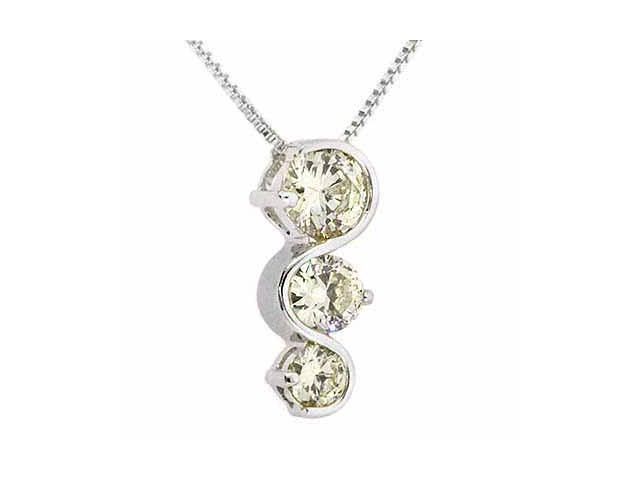 Sterling Silver Past Present and Future Light Yellow Pendant