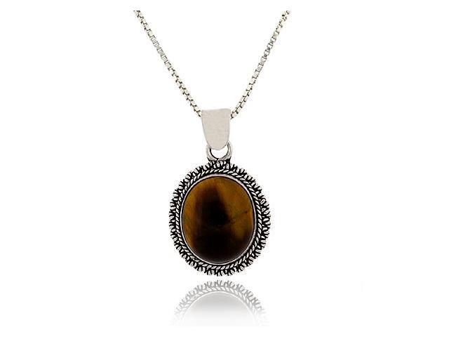 Sterling Silver Genuine Tiger Eye Stone Twist Border Oval Pendant