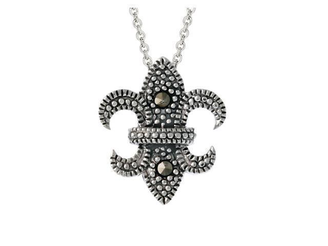 Sterling Silver Marcasite Fleur De Lis Pendant
