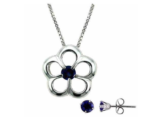 Sterling Silver Simulated Tanzanite cz Flower and Stud Earring Set