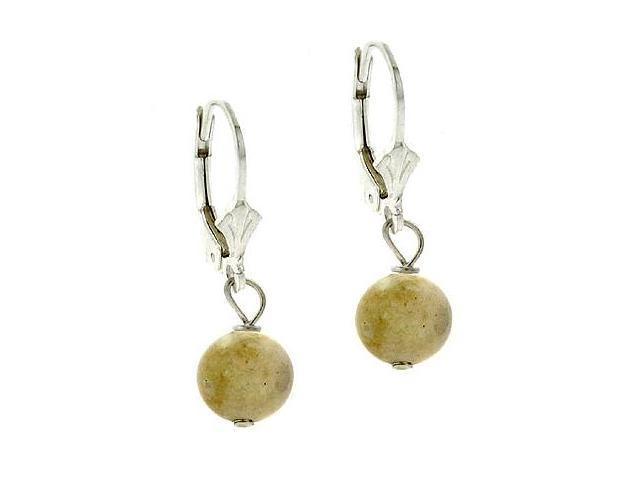 Sterling Silver 8mm Genuine Riverstone Stone Bead Beaded Dangle LeverBack Lever
