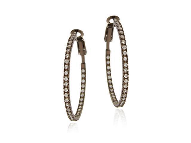 Brown Rhodium Overlay Sterling Silver 35mm Inside Out CZ Hoop Earrings