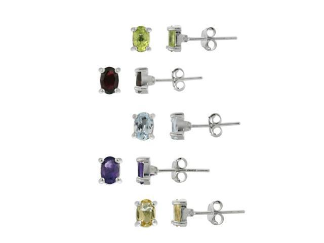 Sterling Silver Oval Amethyst, Citrine, Peridot, Garnet, and Blue Topaz Stud Ear