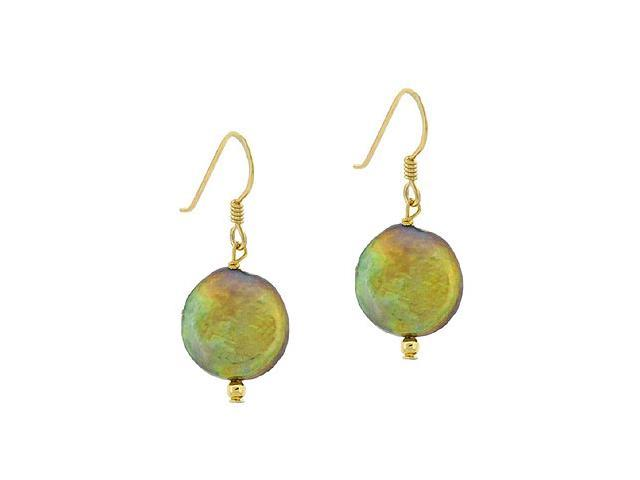 18K Gold over Sterling Silver Freshwater Cultured Golden Green Coin Pearl Dangle