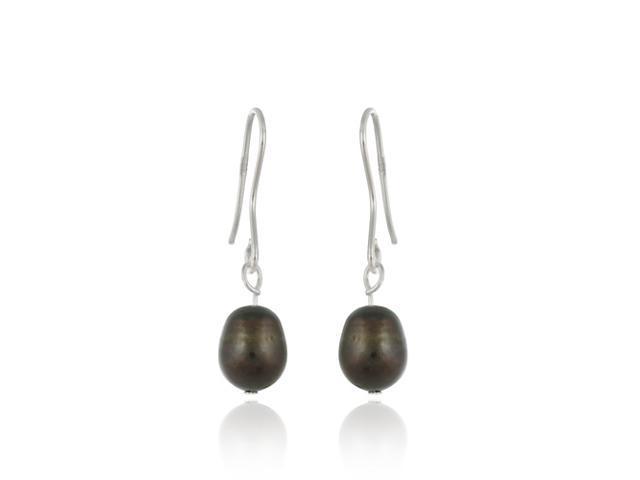 Sterling Silver Baroque Freshwater Cultured Brown Pearl Earrings