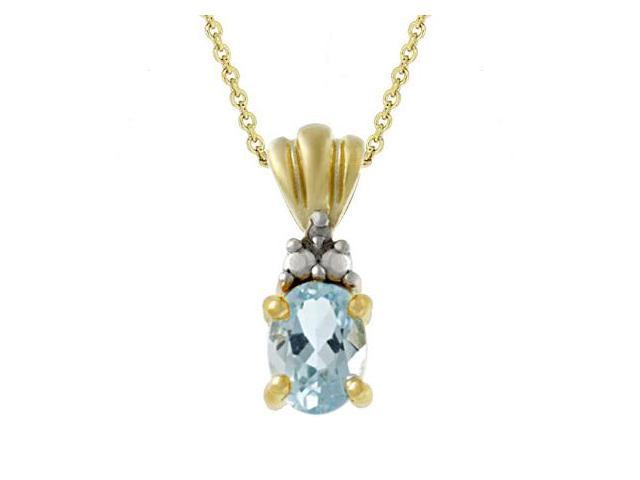 18k Gold over Silver Diamond Accented Oval Blue Topaz Pendant