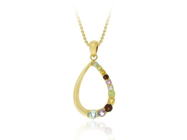 18K Gold over Sterling Silver Multi Gemstone Open Teardrop Pendant