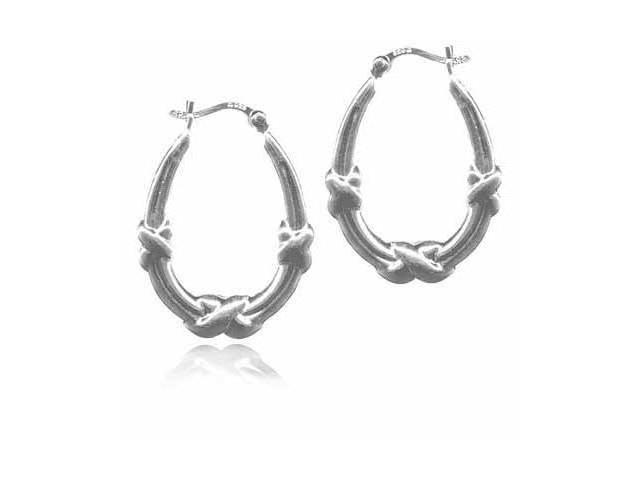 X and Bar Sterling Silver Hoop Earrings