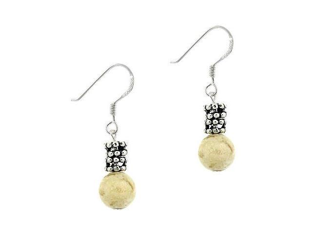 Sterling Silver .925 Genuine Riverstone Stone Bead 8mm Dangle Bali Bead Earrings
