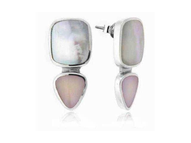 Genuine Mother Of Pearl & Pink Shell Sterling Silver Earrings