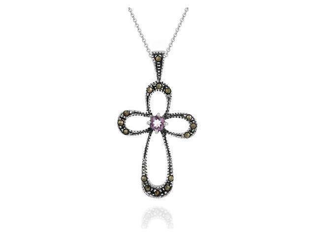 Sterling Silver Cross Genuine Amethyst / Marcasite Pendant