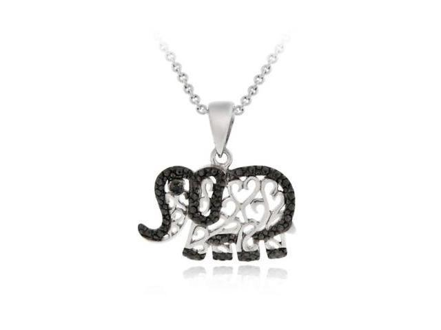 Sterling Silver Black Diamond Accent Elephant Pendant