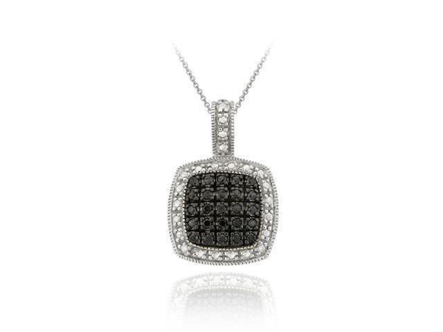 Sterling Silver 1/4ct TDW Black Diamond Square Pendant