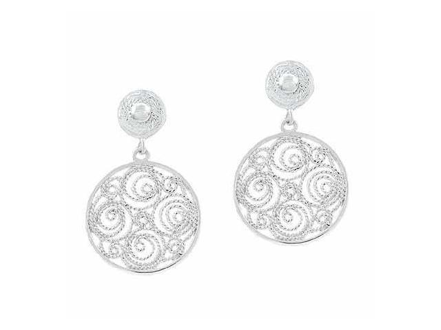 Sterling Silver Filigree Round Circle Earrings