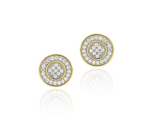 18K Gold over Sterling Silver CZ Micro Pave Round Two-Tone Earrings