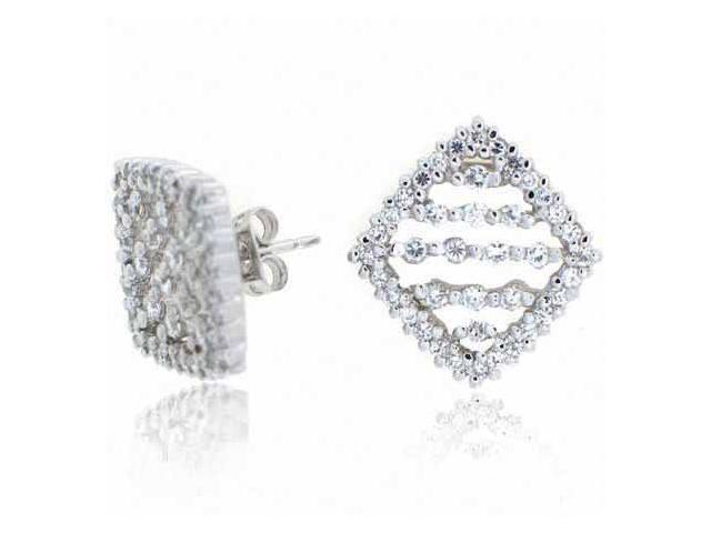Sterling Silver Simulated Diamond CZ Diamond Earrings