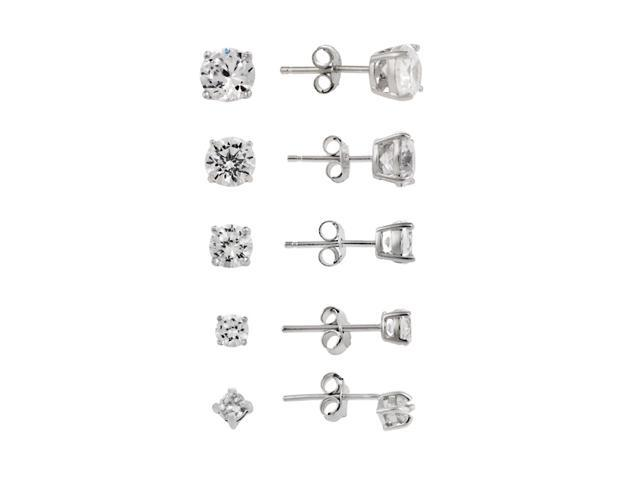 Sterling Silver 5-Pair Round CZ Stud Earrings Set