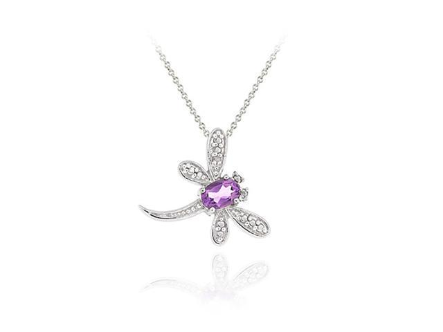 Sterling Silver Amethyst & Diamond Accent Flying Dragonfly Slide Pendant