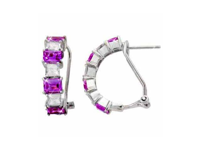 Sterling Silver Simulated Amethyst CZ and Simulated Diamond CZ Half Hoop Earring