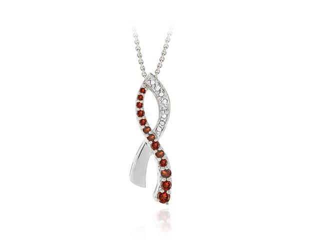 Sterling Silver Garnet & Diamond Accent Aids Awareness Ribbon Pendant