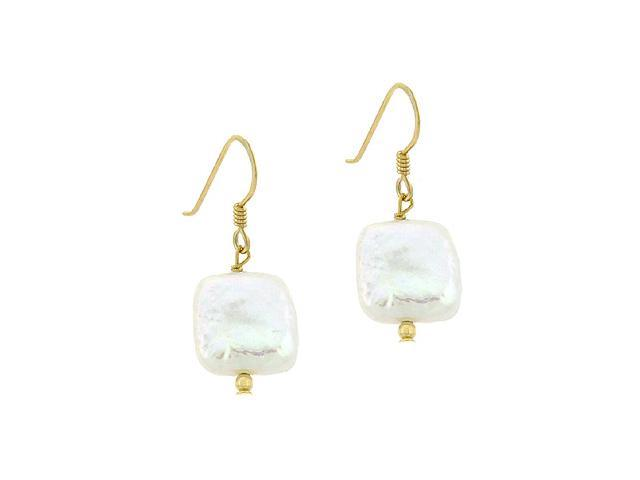 18K Gold over Sterling Silver Freshwater Cultured White Coin Pearl Square Dangle