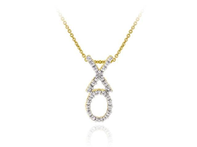18K Gold over Sterling Silver Diamond Accent